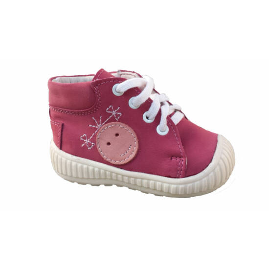 Maus első lépés cipő, sötét rózsaszín,smiley