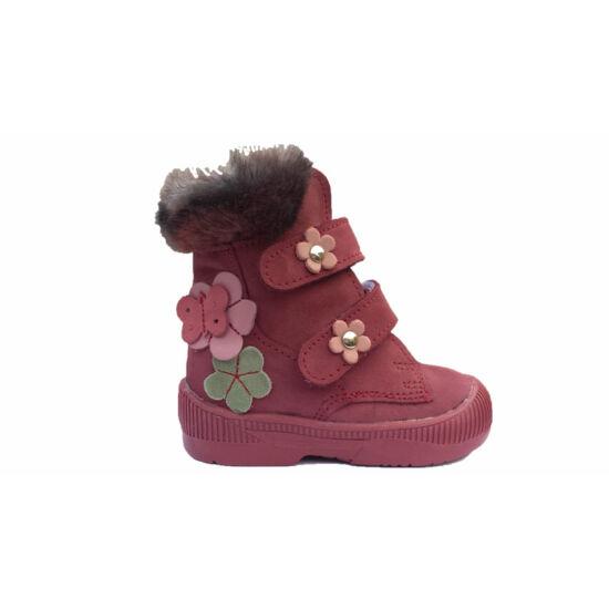 Maus szupinált téli lányka bakancs, pillangós virágos